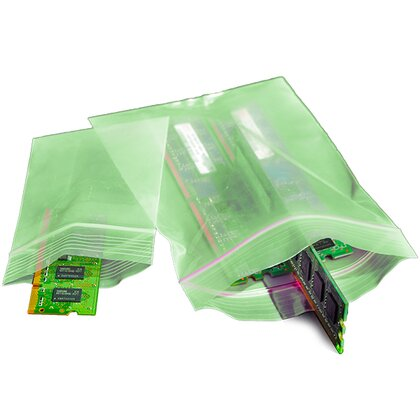 Sachets zip PE, antistatique permanente ESD, verts 76 x 102 mm - (576.076.102)